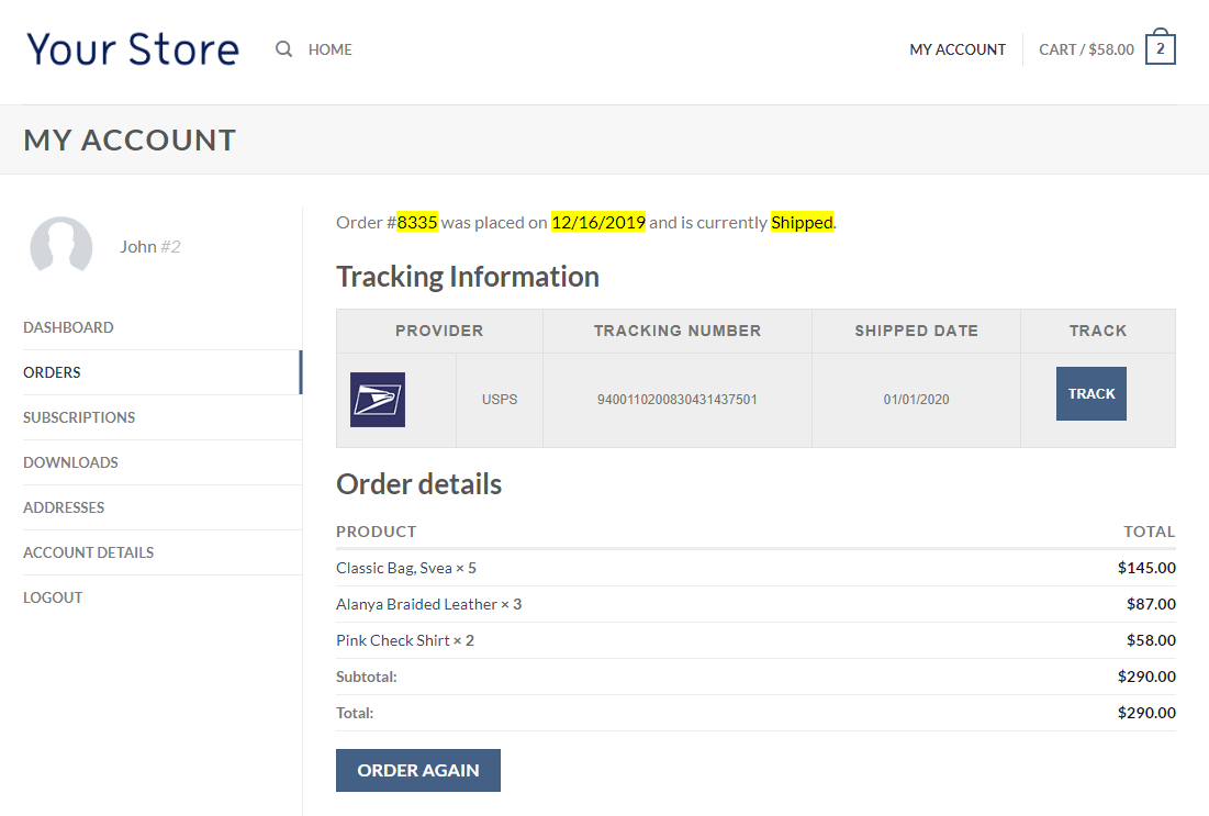 Order Shipment Tracking System